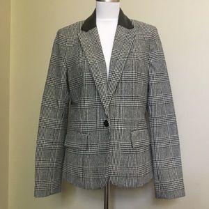 MICHAEL KORS black plaid Leather blazer jacket 10